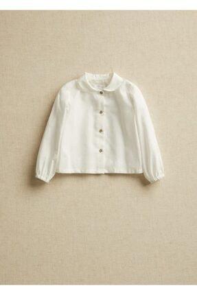 Mango Kırık Beyaz Unisex Bebek Yakalı Organik Pamuklu Gömlek 0