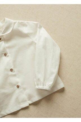 Mango Kırık Beyaz Unisex Bebek Yakalı Organik Pamuklu Gömlek 3