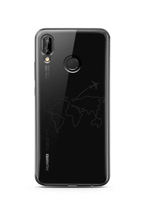 Spoyi Çizgi Harita Tasarımlı Süper Şeffaf Silikon Telefon Kılıfı Huawei P20 Lite 0