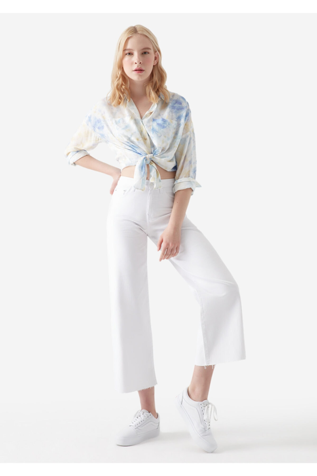 Kadın Bodrum 90 s Beyaz Jean Pantolon 101046-31849