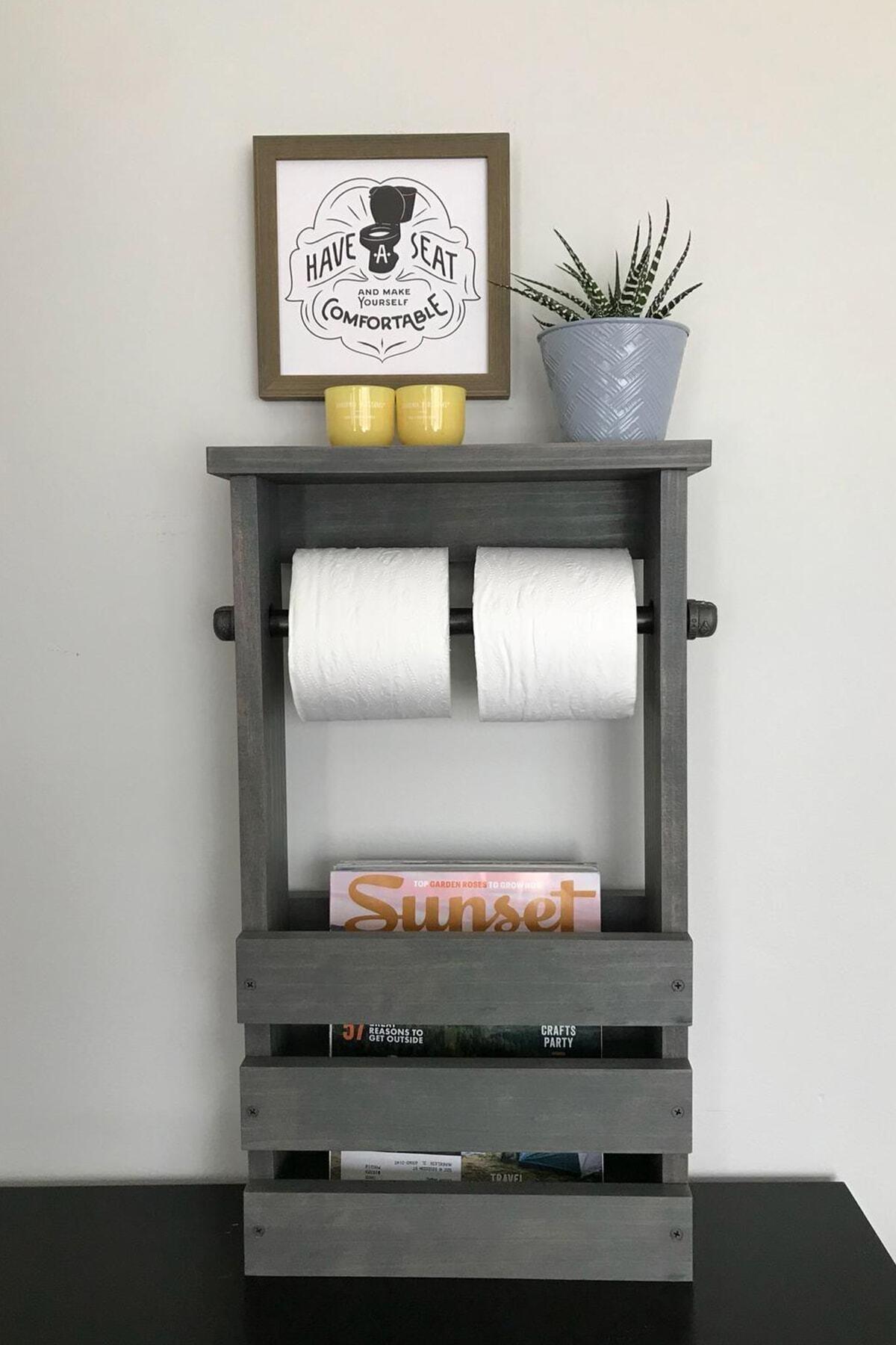 Gri Ahşap Banyo Tuvalet Kağıtlığı Standı