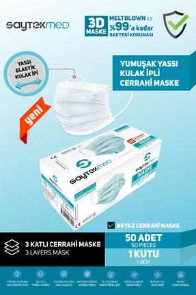 SAYTEKMED Meltblown Filtreli Yassı Ipli Beyaz Maske 1 Kutu/50 Adet 1