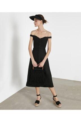 İpekyol Kadın Siyah Geniş Yaka Elbise IS1200002372001 1