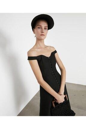 İpekyol Kadın Siyah Geniş Yaka Elbise IS1200002372001 2
