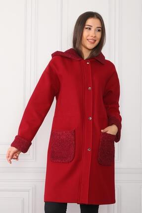 nobisis Kadın Kırmızı Çıtçıt Fermuarlı Kapüşonlu Kaban 2