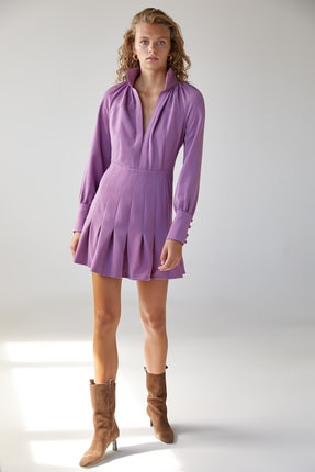 Urban Muse Dik Yaka Volanlı Pembe Mini Elbise 1