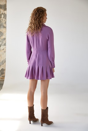 Urban Muse Dik Yaka Volanlı Pembe Mini Elbise 3
