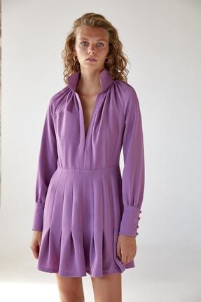 Urban Muse Dik Yaka Volanlı Pembe Mini Elbise 4