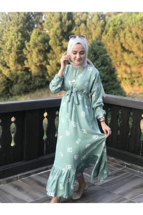 AYSUN AYDEMİR Kadın Yeşil Harf Desenli Elbise 2