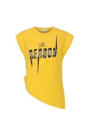 Twist Kadın Turuncu Baskı Üzeri Payet İşli Tişört 4
