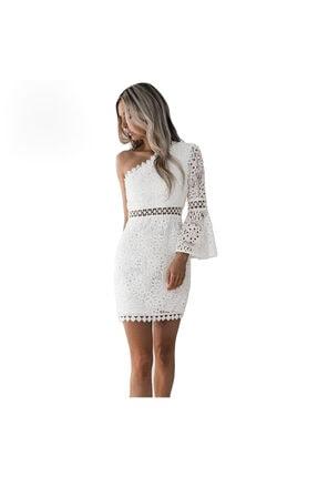 FASHION COCKTAIL Kadın Beyaz Tek Kollu Dantel Romantik Elbise 0
