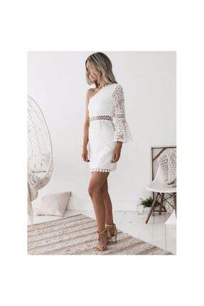 FASHION COCKTAIL Kadın Beyaz Tek Kollu Dantel Romantik Elbise 3