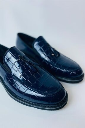 LA PANTE Erkek Lacivert Hakiki Deri Rugan Casual Ayakkabı 3