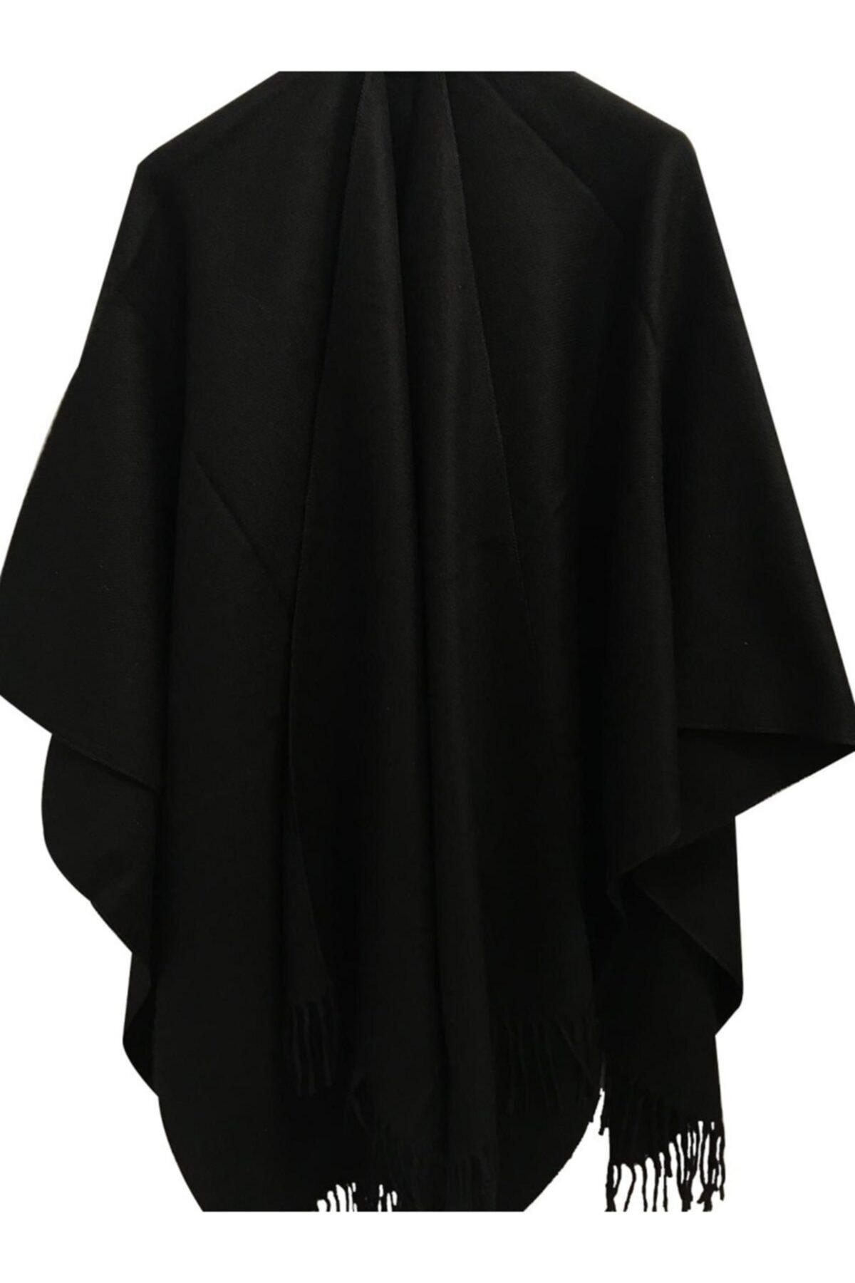 Kadın Siyah Düz Panço