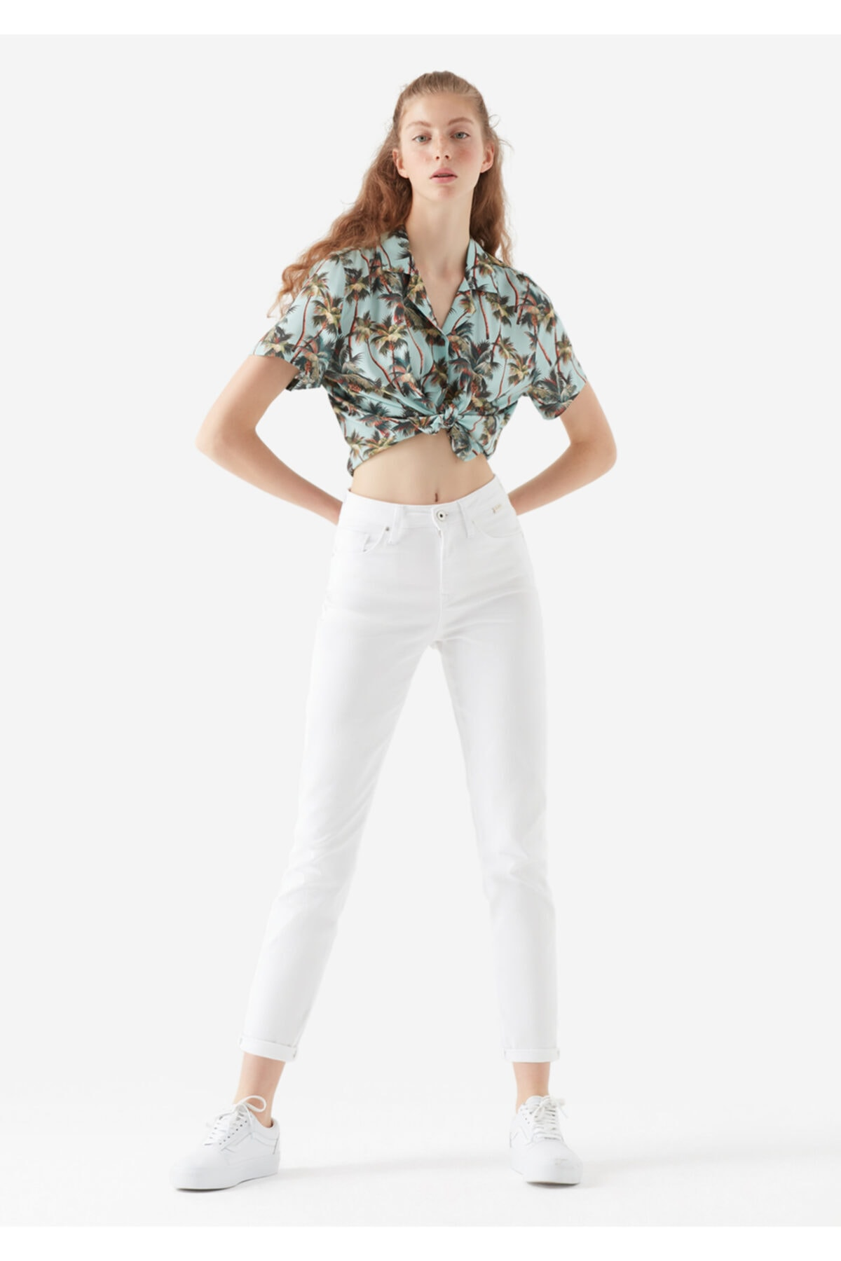 Kadın Cindy Gold Icon Beyaz Jean Pantolon 100277-31327