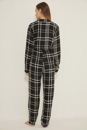 C&City Georgia Sparks Kadın Ekoseli Dokuma Pijama Altı Siyah/beyaz 3