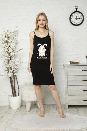Tena Moda Kadın Siyah Ip Askılı Tavşan Baskılı Gecelik Pijama 0