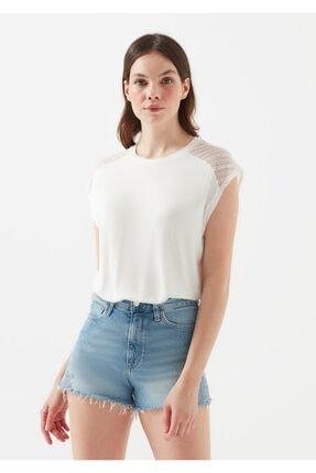 Mavi Kadın Dantel Detayli Beyaz T-Shirt 1