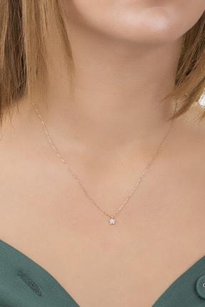 Diversity Jewelry Kadın Gümüş Zirkon Taşlı Rose Yıldız Kolye 0