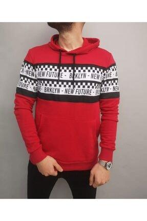 İnsane Minds Erkek Kırmızı Brooklyn Future Baskılı Kapşonlu Sweatshirt 0