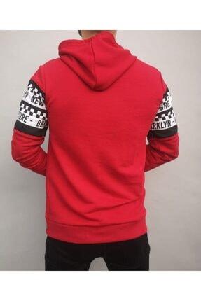 İnsane Minds Erkek Kırmızı Brooklyn Future Baskılı Kapşonlu Sweatshirt 2