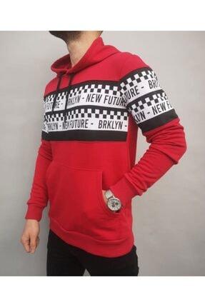 İnsane Minds Erkek Kırmızı Brooklyn Future Baskılı Kapşonlu Sweatshirt 3
