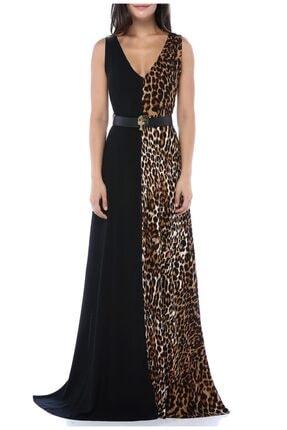 AYSL BUTİK Kadın Siyah Bir Tarafı  Desenli Kendinden Kemerli Yırtmaçlı Elbise 2