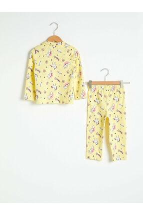 LC Waikiki Kız Bebek Sarı Baskılı Pijama Takımı 1