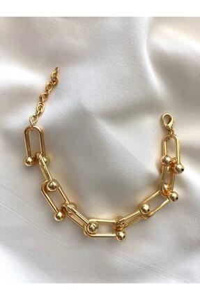 Mathilda Aksesuar Kadın Gold Renk Zincir Çelik Bileklik 1