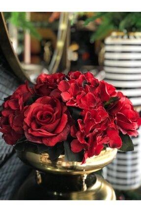 TASARIMHMODA Kırmızı Güllü Yassı Gold Vazo 1