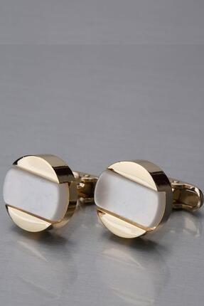 Altın Renk Beyaz Yuvarlak Kol Düğmesi Kd1266 KRVT86900022229827