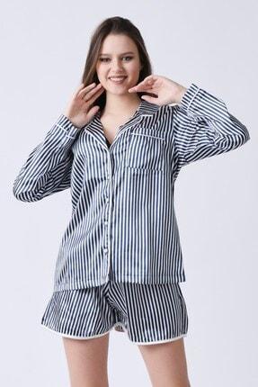 C&City Kadın Lacivert Beyaz Yakalı Long Line Gömlek 4