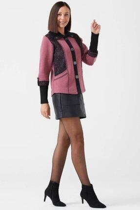 Sementa Kadın Polo Yaka Düğmeli Triko Ceket - Gül - Siyah 1