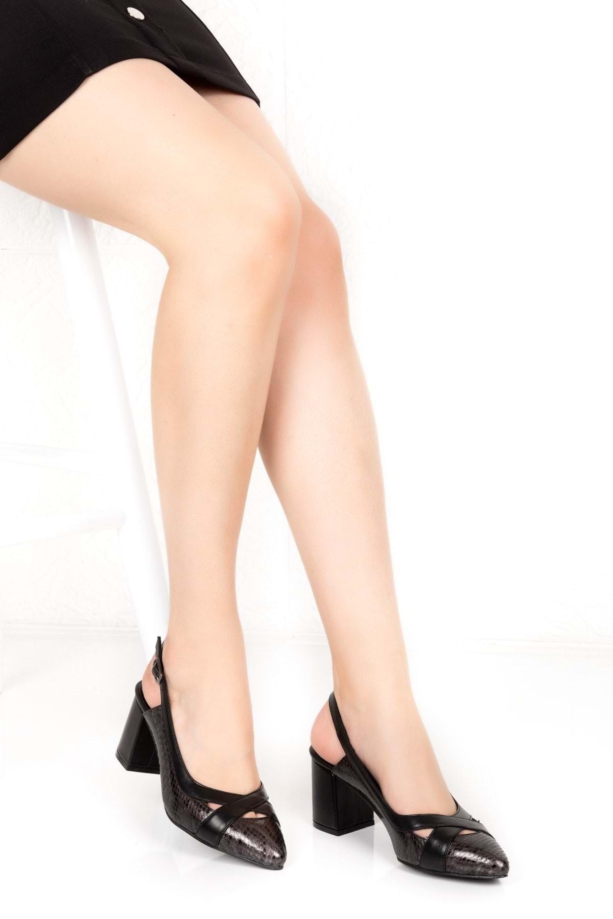 Kadın Siyah Çelik Hakiki Deri Yılan Desen Ayrıntılı Topuklu Ayakkabı Şhn.0738 -- 38