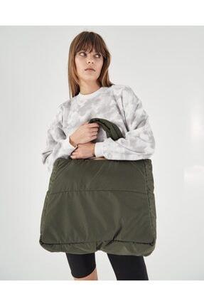 Shule Bags Kabartmalı Puf Kumaş Shopper Çanta Napoli Haki 2