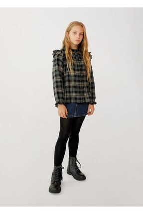 Mango Kız Çocuk Siyah Ekoseli Fırfırlı Gömlek 1