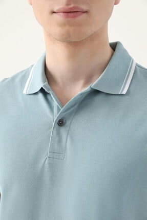 D'S Damat Erkek Yeşil Slim Fit Mint Pike Dokulu T-shirt 2