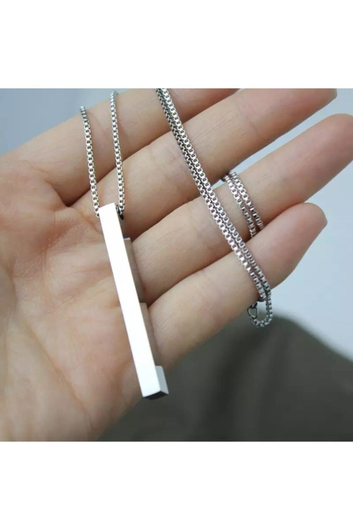 Gümüş Renk Unisex Bar Örme Zincir Kolye