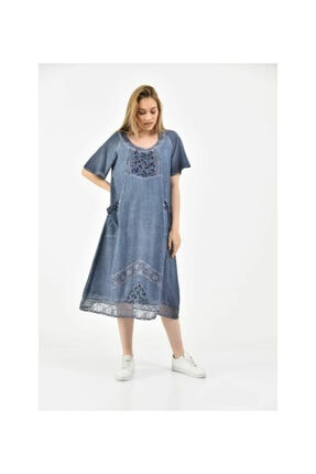 S & S Home and Life Kadın Mavi Yıkamalı Otantik Yazlık Elbise 2