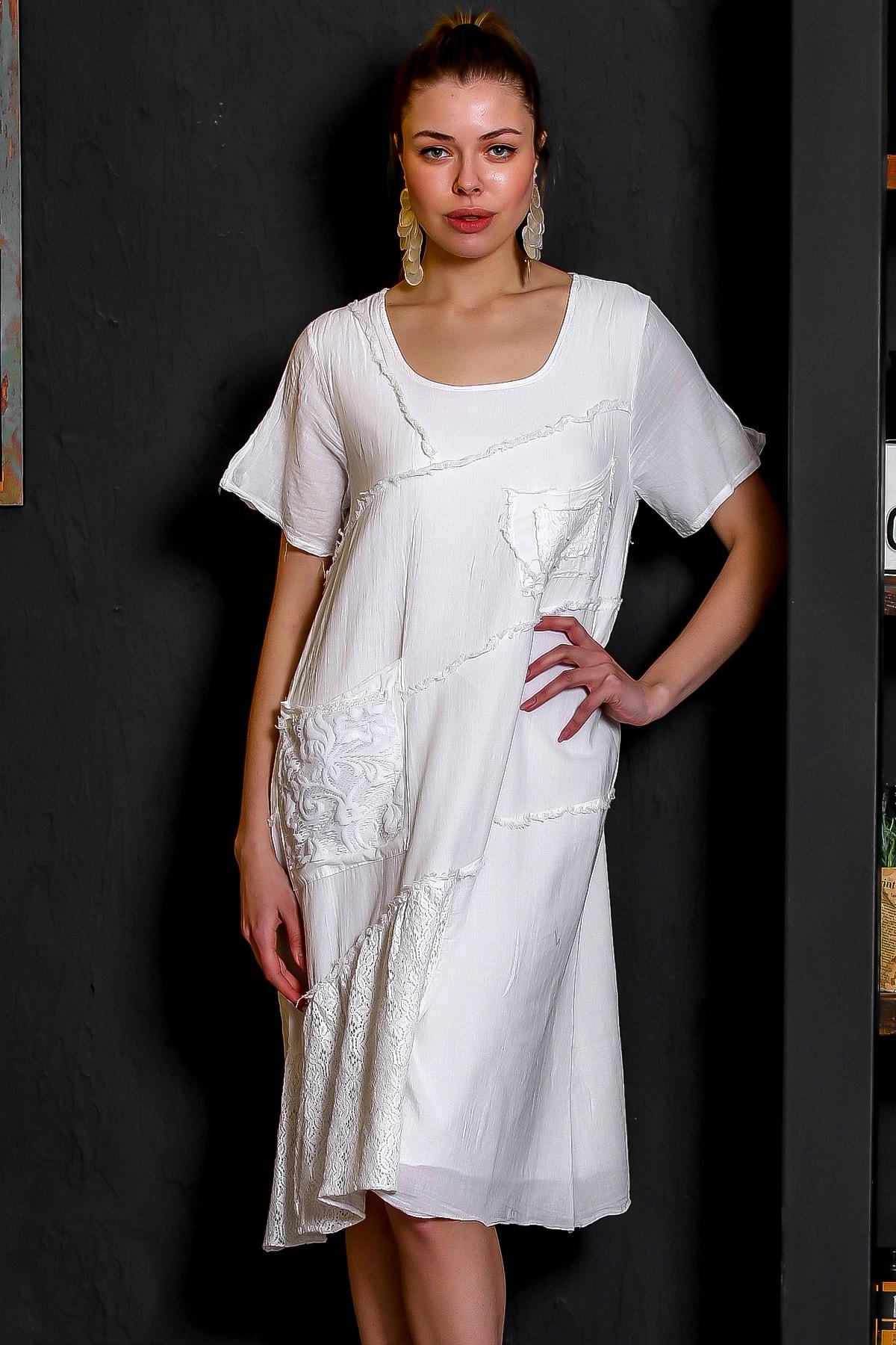 Chiccy Kadın Beyaz Sıfır Yaka Dantel Bloklu Cepli Astarlı Yıkamalı Elbise M10160000EL95294 1
