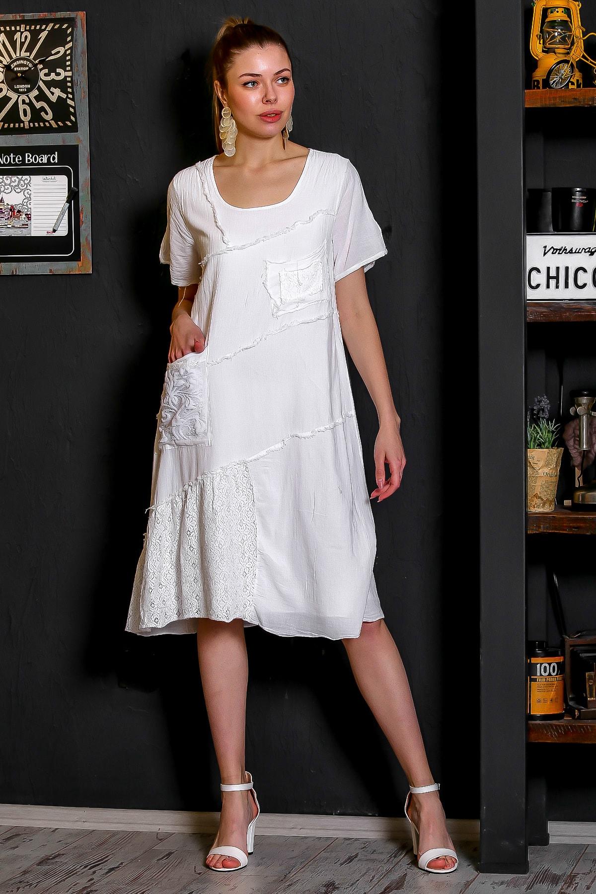 Chiccy Kadın Beyaz Sıfır Yaka Dantel Bloklu Cepli Astarlı Yıkamalı Elbise M10160000EL95294 3