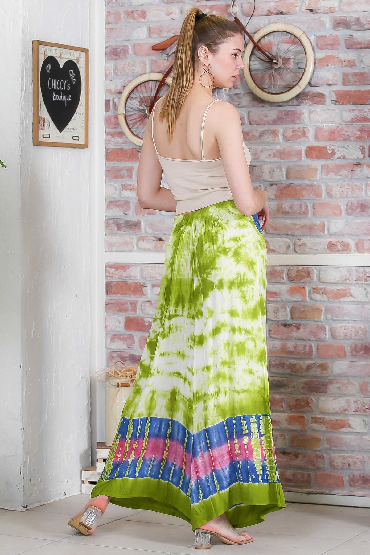 Chiccy Kadın Yeşil Batik Desenli Bol Paçalı Dokuma Pantolon M10060000PN98899 4