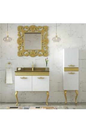 Housepack Gold Beyaz 100 Cm (65+35)boy Dolaplı Cam Lavabolu Lüx Banyo Takımı 4