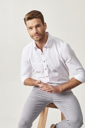 Altınyıldız Classics Erkek Beyaz Düğmeli Yaka Tailored Slim Fit Oxford Gömlek 3