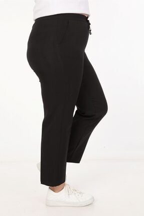 Womenice Kadin Siyah Spor Kesim Kumaş Pantolon 1