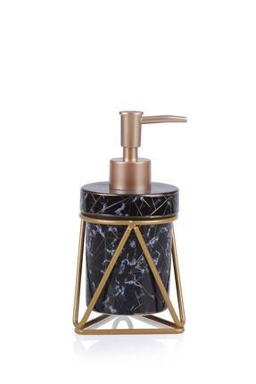 ACAR Josie Seramik Oval Metal Standlı Sıvı Sabunluk - Siyah 0