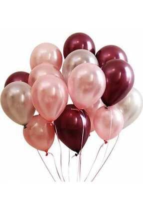 Magic Hobby 50 Adet Rose Gold- Gümüş - Bordo Metalik Balon 3'lü Renk - 12 Inç 0