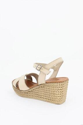 Deripabuc Hakiki Deri Bej Kadın Dolgu Topuklu Deri Sandalet DP55-2627 4