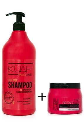 Kuaf Tuzsuz Argan Yağlı Bakım Şampuanı 1000ml + Saç Bakım Maskesi Argan 500ml 0