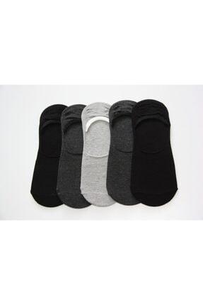 Prestige Erkek Koyu Gri Silikon Baskılı Babet Çorap 5'li 1